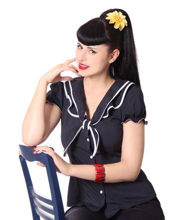 Dollydi 50s Style retro Schluppen Rüschen Kragen Bluse v. SugarShock – Bild 20