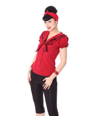 Dollydi 50s Style retro Schluppen Rüschen Kragen Bluse v. SugarShock – Bild 11