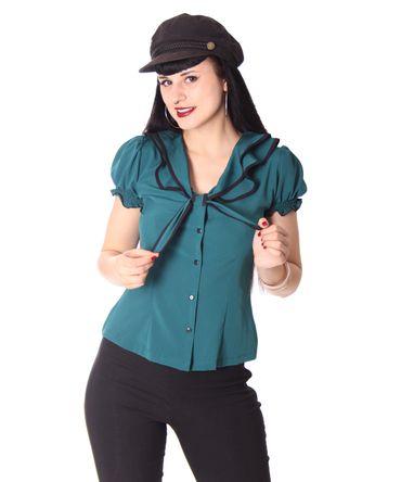 Dollydi 50s Style retro Schluppen Rüschen Kragen Bluse v. SugarShock – Bild 22