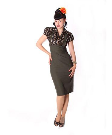 Carlyn 50er retro Pencil Hosenträger Suspender Oldtimer Blusen Kleid v. SugarShock