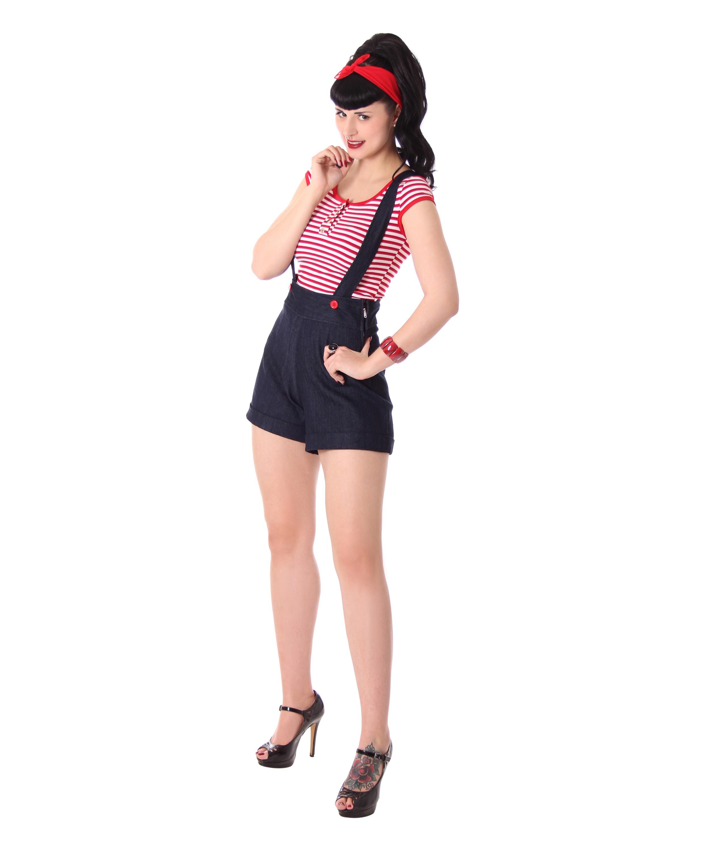 Hosenträger Details Brienna Zu High Waist Suspender Sugarshock Rockabilly Shorts HWD92IYE