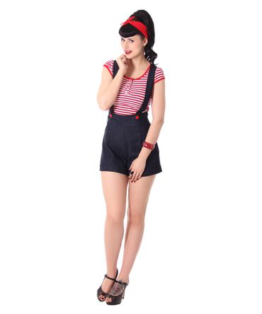 Brienna Suspender Hosenträger High Waist Shorts  v. SugarShock – Bild 3