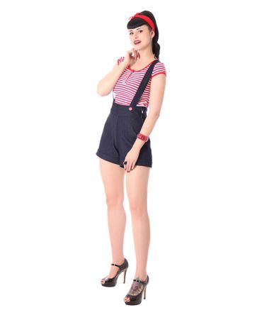 Brienna Suspender Hosenträger High Waist Shorts  v. SugarShock – Bild 4