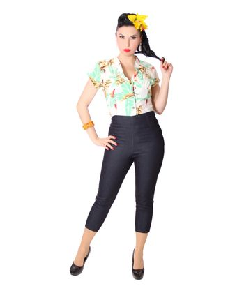 Tessy 40s Style retro Hawaii Papageien Bluse v. SugarShock – Bild 6