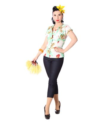 Tessy 40s Style retro Hawaii Papageien Bluse v. SugarShock – Bild 2