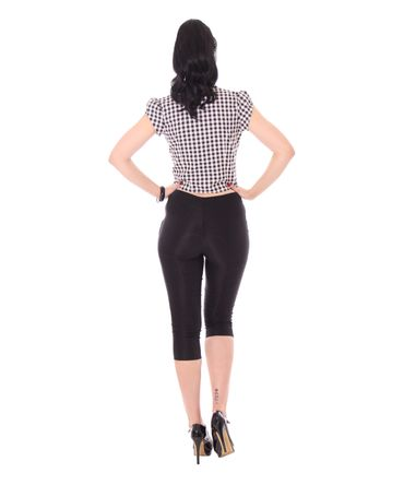 Ammy 50er retro Pin Up Caprihose schlichte High Waist 3/4 Hose v. SugarShock – Bild 2