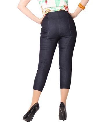 Ammy 50er retro Pin Up Denim Caprihose 3/4 Jeans High Waist Hose v. SugarShock – Bild 4