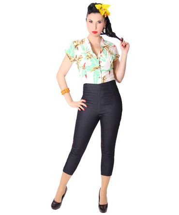 Ammy 50er retro Pin Up Denim Caprihose 3/4 Jeans High Waist Hose v. SugarShock – Bild 1