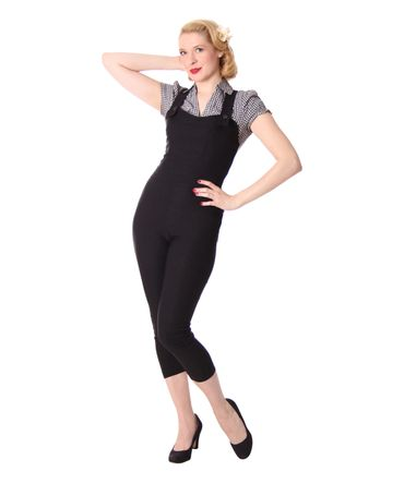 Breen 50er retro Pin Up Dugarees Caprihose 3/4 Hose Latzhose v. SugarShock
