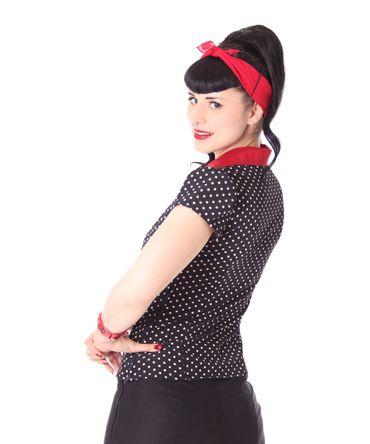 Missy Diner 50s Style retro Polka Dots Bluse v. SugarShock – Bild 5
