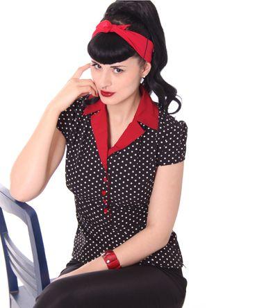 Missy Diner 50s Style retro Polka Dots Bluse v. SugarShock – Bild 3