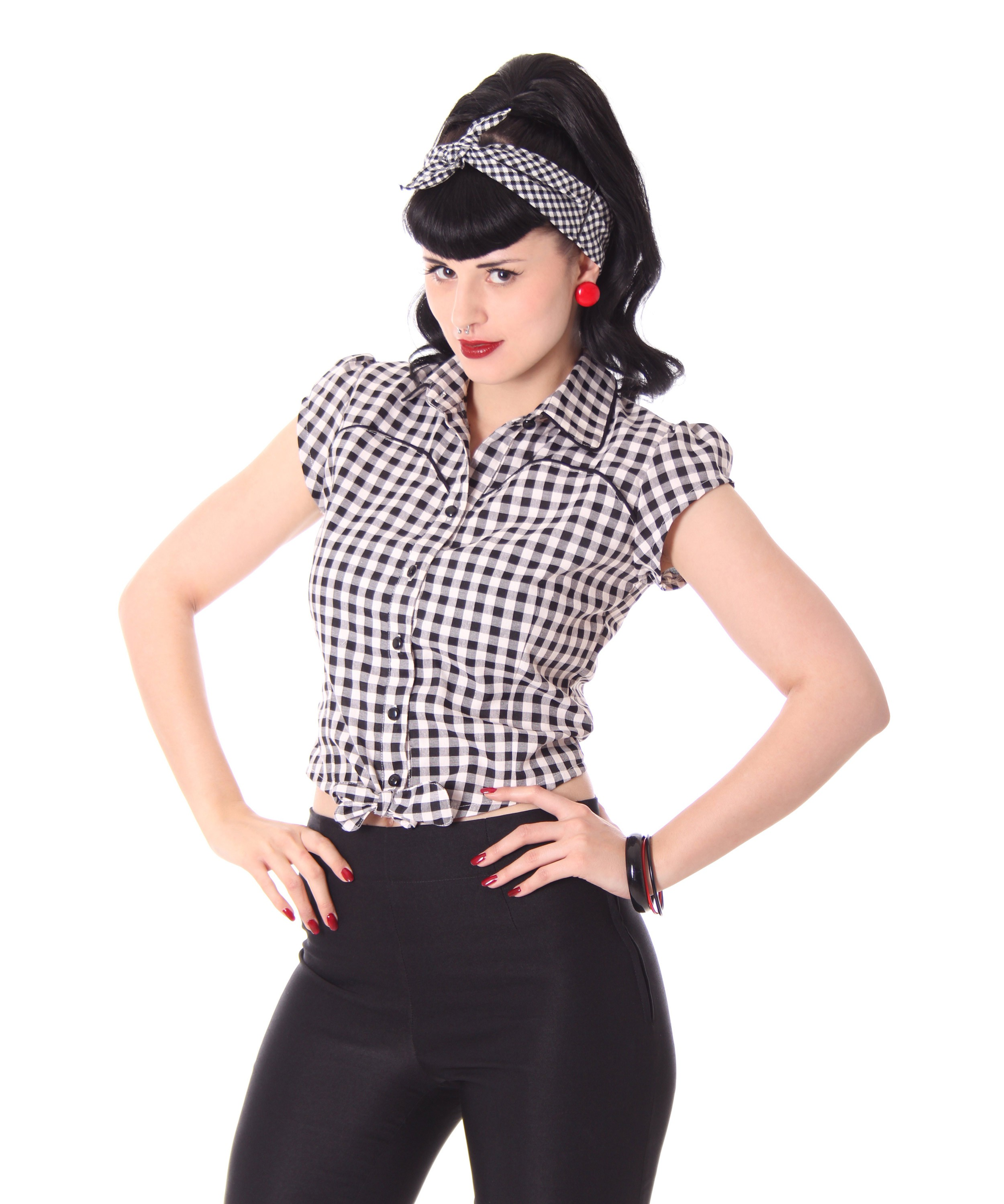 julina 50s pin up style retro gingham binde bluse v sugarshock frauen hemden blusen. Black Bedroom Furniture Sets. Home Design Ideas