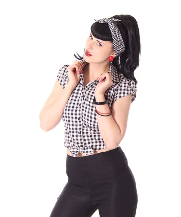 Julina 50s Pin Up Style retro Gingham Binde Bluse v. SugarShock – Bild 5