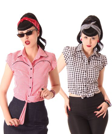 Julina 50s Pin Up Style retro Gingham Binde Bluse v. SugarShock – Bild 1