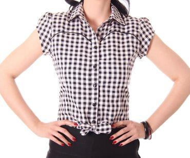 Julina 50s Pin Up Style retro Gingham Binde Bluse v. SugarShock – Bild 6