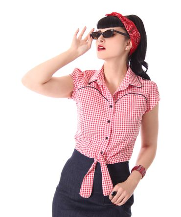 Julina 50s Pin Up Style retro Gingham Binde Bluse v. SugarShock – Bild 11