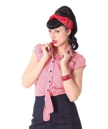 Julina 50s Pin Up Style retro Gingham Binde Bluse v. SugarShock – Bild 12