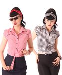 Julina 50s Pin Up Style retro Gingham Binde Bluse v. SugarShock