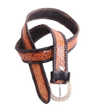 geprägter vintage Style Western retro oldschool Ledergürtel Gürtel mit geflochtenem Rand unisex