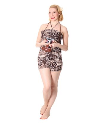 Leoparden Pin Up Neckholder Jumpsuit Sommer Leo Bandeau Playsuit – Bild 3