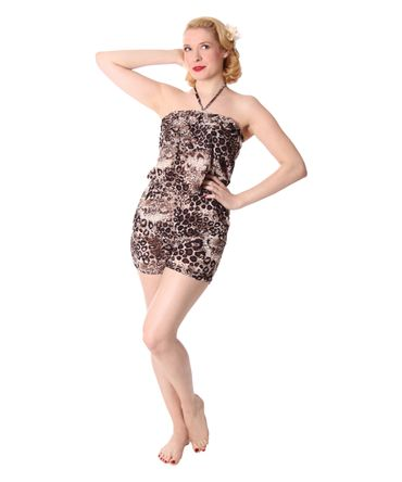 Leoparden Pin Up Neckholder Jumpsuit Sommer Leo Bandeau Playsuit