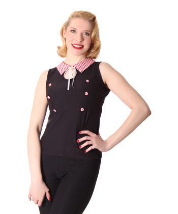 Mara 50s retro Pin Up Shirt Gingham Kragen Top v. SugarShock – Bild 1