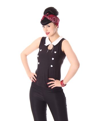Mara 50s retro Pin Up French Maid Shirt Kragen Top v. SugarShock – Bild 2