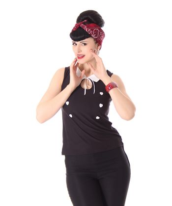 Mara 50s retro Pin Up French Maid Shirt Kragen Top v. SugarShock – Bild 1