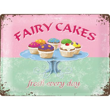 Fairy Cakes - Fresh every Day 50er retro Tür Blechschild v. Nostalgic Art