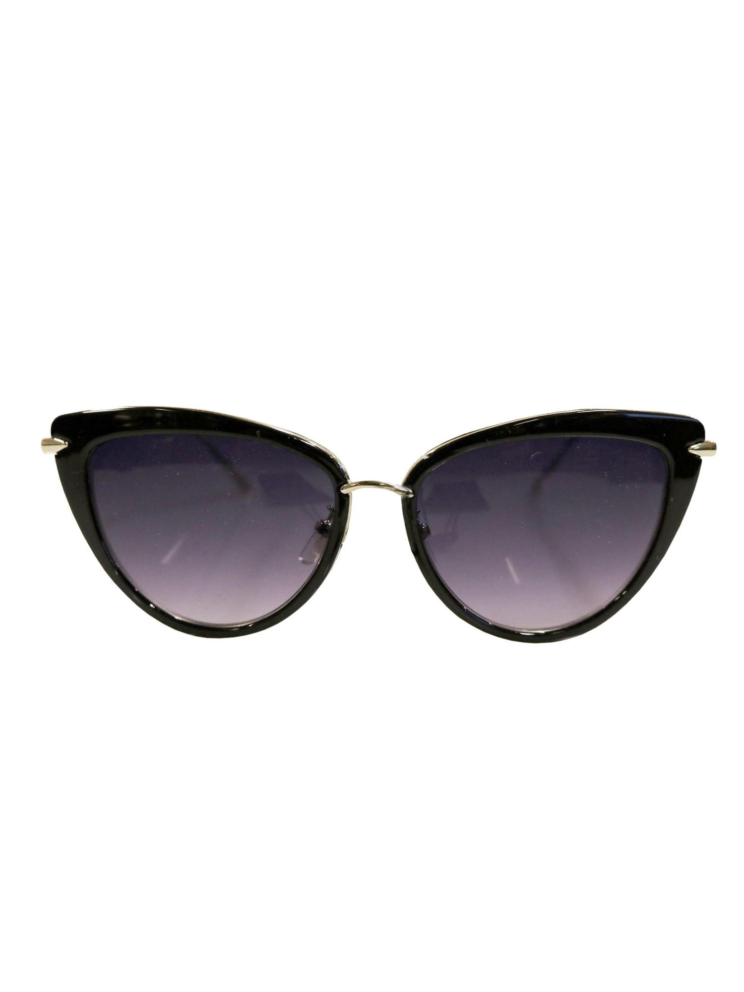 Große Cateye-Sonnenbrille Schwarz Q21az7