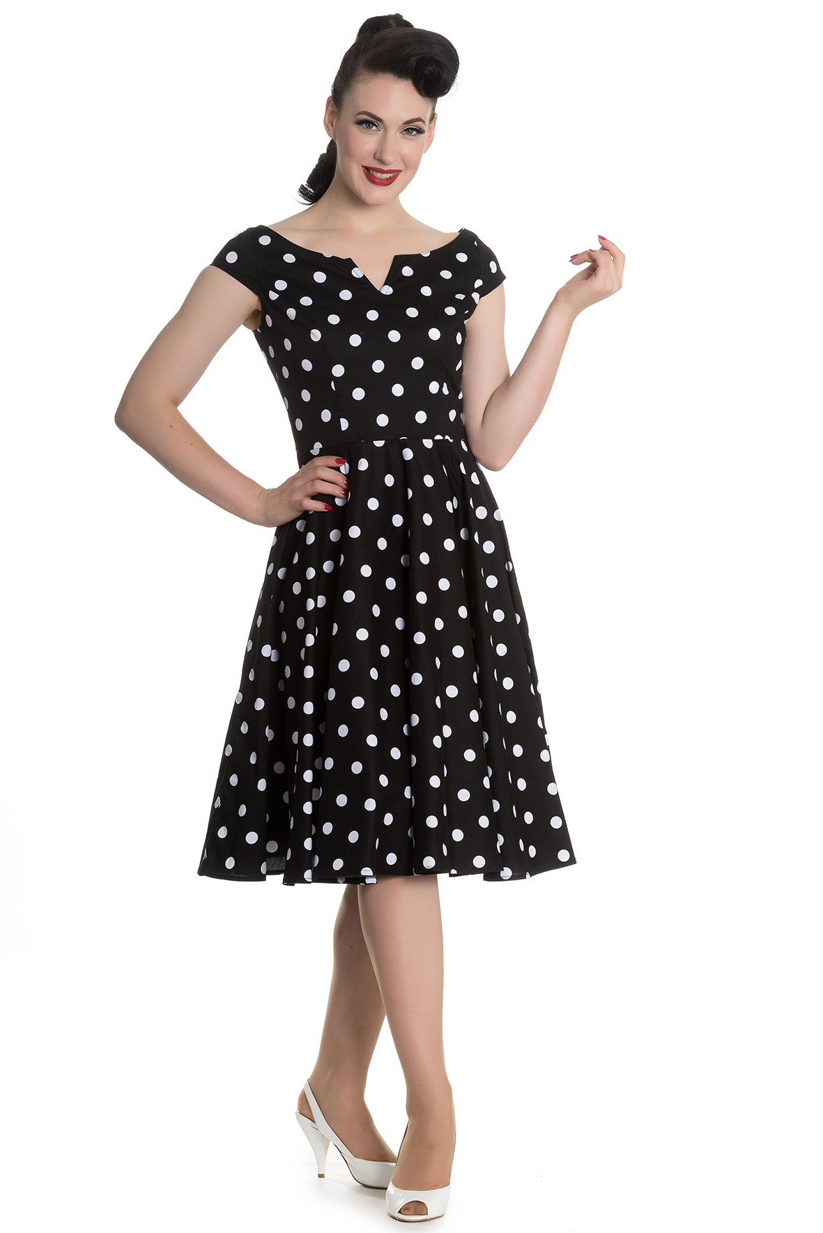 nicky 50s retro polka dots swing petticoat kleid v hell bunny frauen kleider. Black Bedroom Furniture Sets. Home Design Ideas