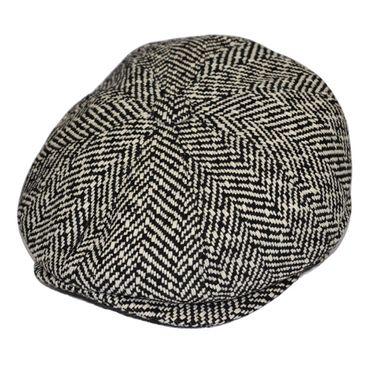 Herringbone 30s retro Newsboy Ballonmütze schwarz weiß – Bild 2