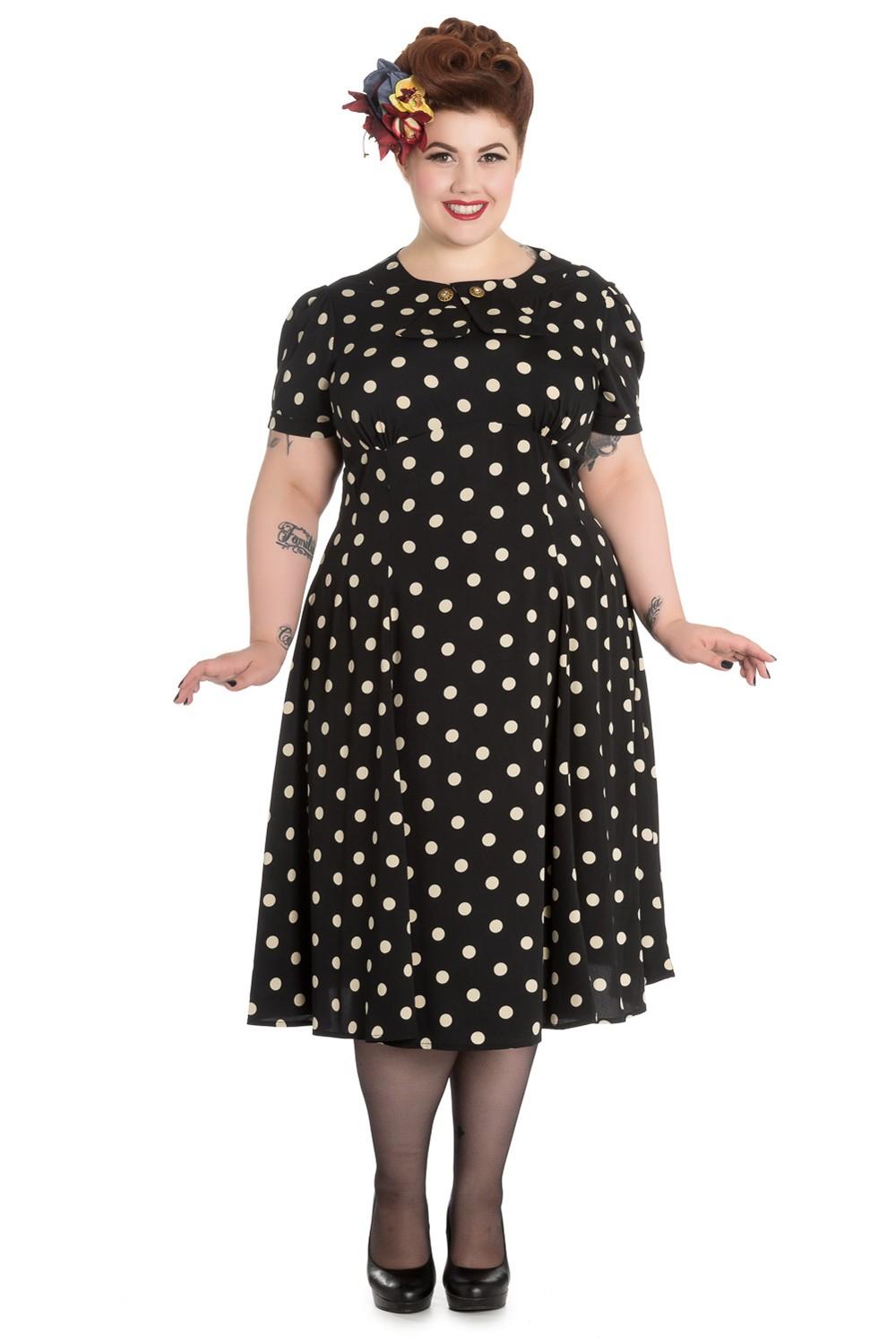 01f02883be8180 Madden 40er Jahre retro Polka Dots Kleid v. Hell Bunny Frauen Kleider