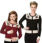 Young Love Schwalben 2-tone Strickweste retro Cardigan v. Banned