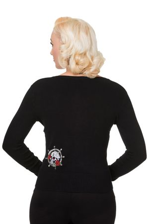 Anchor Strickweste retro Tattoo Anker Totenkopf Sailor Cardigan v. Banned – Bild 3