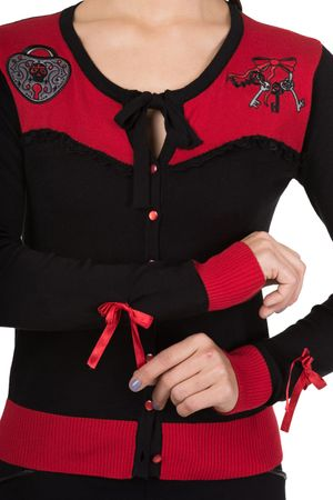 Captivated 2-tone Strickweste retro Tattoo Cardigan v. Banned – Bild 3