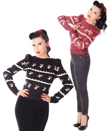 40er retro Crystal Deer Strick Pullover Jumper Strickpulli v. SugarShock
