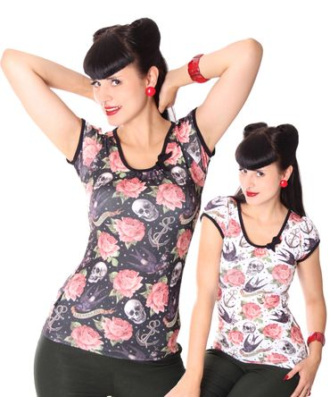 Rose Tattoo Girl Doll Puffärmel T-Shirt v. Liquor Brand – Bild 1