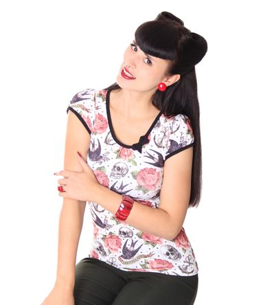 Rose Tattoo Girl Doll Puffärmel T-Shirt v. Liquor Brand – Bild 9