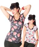 Rose Tattoo Girl Doll Puffärmel T-Shirt v. Liquor Brand 001