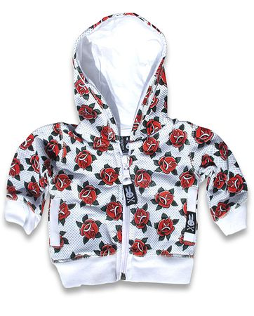 cute Tattoo Roses Six Bunnies Baby Hoodie Kapuzen Sweatjacke – Bild 1