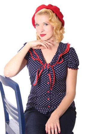Dollydi 50s Style retro Polka Dots Schluppen Rüschen Kragen Bluse v. SugarShock – Bild 2