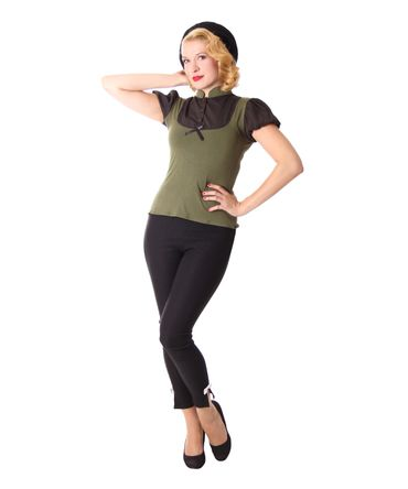 Jeany Pin Up retro Puffärmel Blusen Shirt v. SugarShock – Bild 3