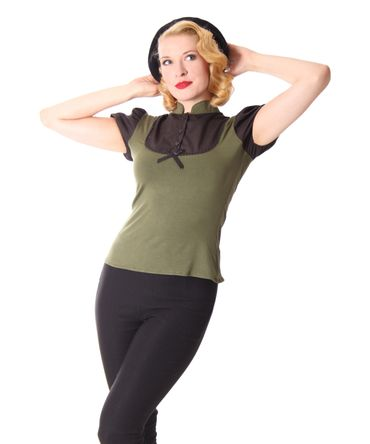 Jeany Pin Up retro Puffärmel Blusen Shirt v. SugarShock – Bild 4