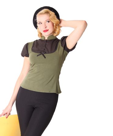 Jeany Pin Up retro Puffärmel Blusen Shirt v. SugarShock – Bild 1