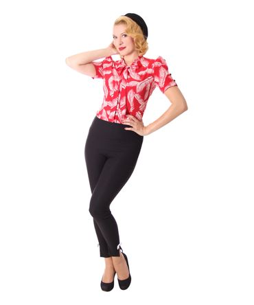 Alexia retro Pin Up Zigarettenhose High Waist skinny Hose v. SugarShock – Bild 2