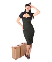Georgia 40er retro Uniform Military Army Pencil Kleid v. SugarShock