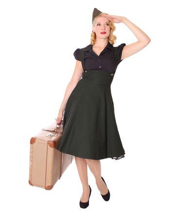 Carlyn 50er retro Military Swing Hosenträger Suspender Uniform Petticoat Kleid v. SugarShock