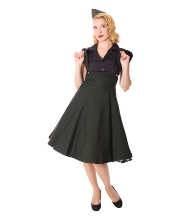 Carlyn 50er retro Military Swing Hosenträger Suspender Uniform Petticoat Kleid v. SugarShock – Bild 4