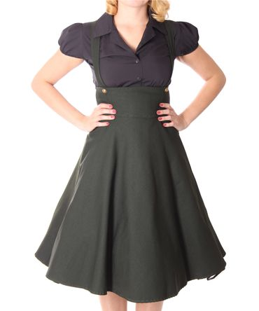 Carlyn 50er retro Military Swing Hosenträger Suspender Uniform Petticoat Kleid v. SugarShock – Bild 5